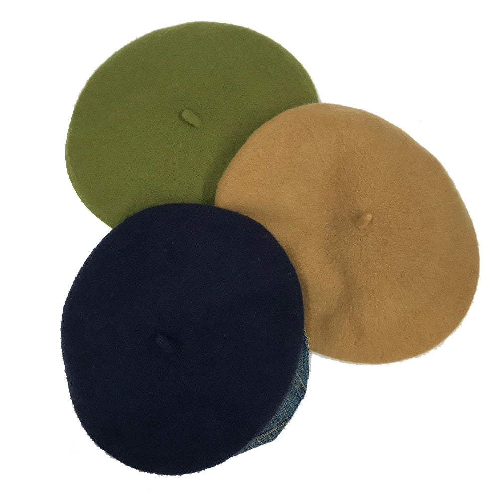 Wool brimmed berets made in NYC small batch hand made millinery Karema Deodato Line & Label