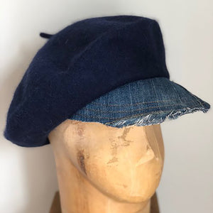 Navy Wool Denim brimmed berets made in NYC small batch hand made millinery Karema Deodato Line & Label