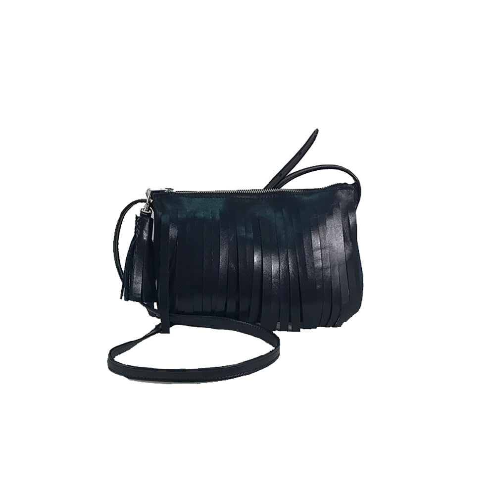 Small Navy Fringe Bag
