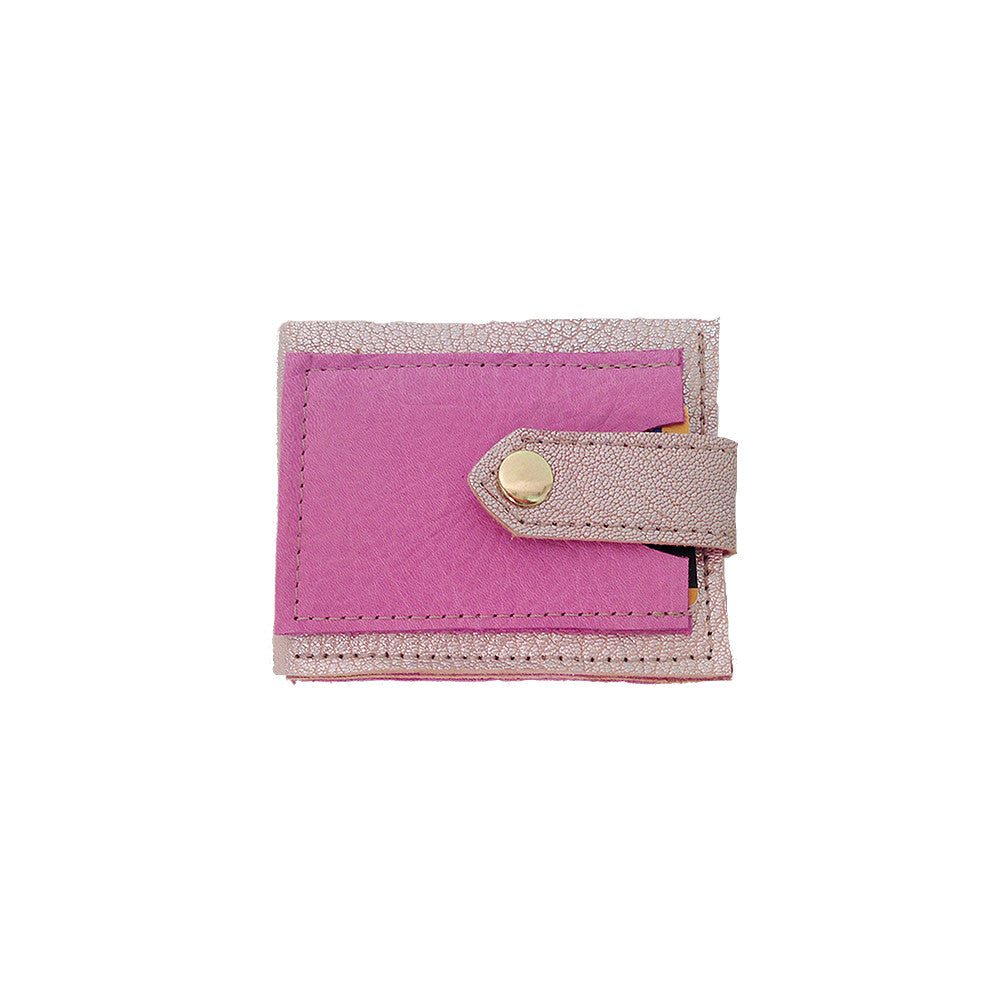 Pink & Rose Gold Leather Wallet