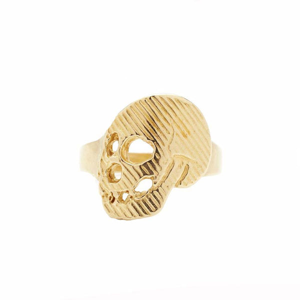 Eat the Leaf Solid Brass Momento Mori Skull Ring made in Brooklyn