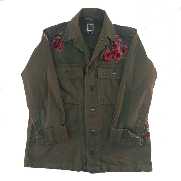 Floral Applique Military Jacket