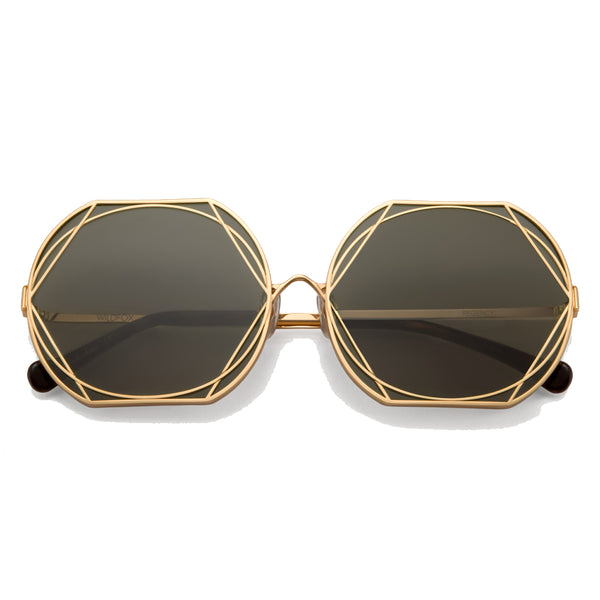 Wildfox Gold Art Deco Wire Framed Sunglasses