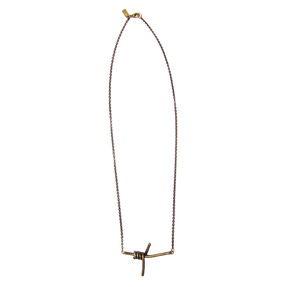 Barbed Wire Cast Brass Necklace