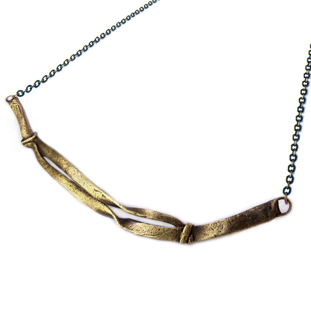 Hand Cast Solid Brass Necklace