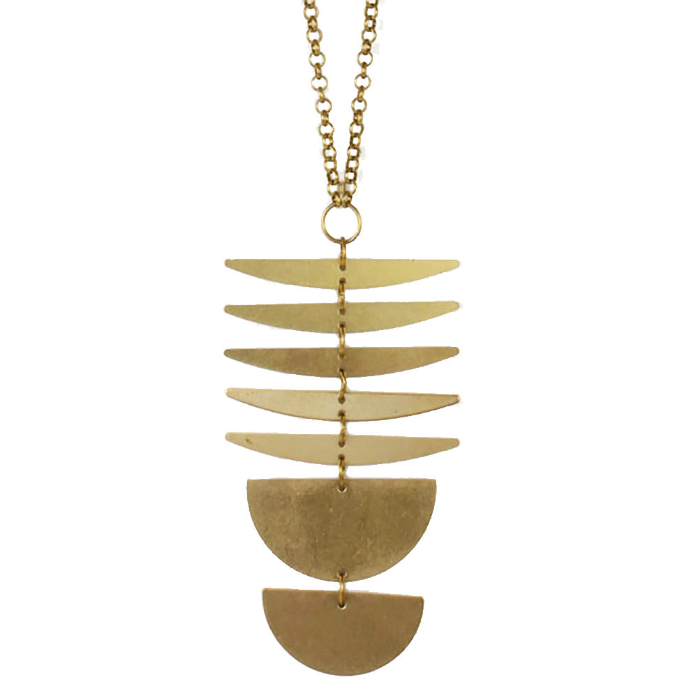 Brass sand solid brass moon phases necklace made in Seattle