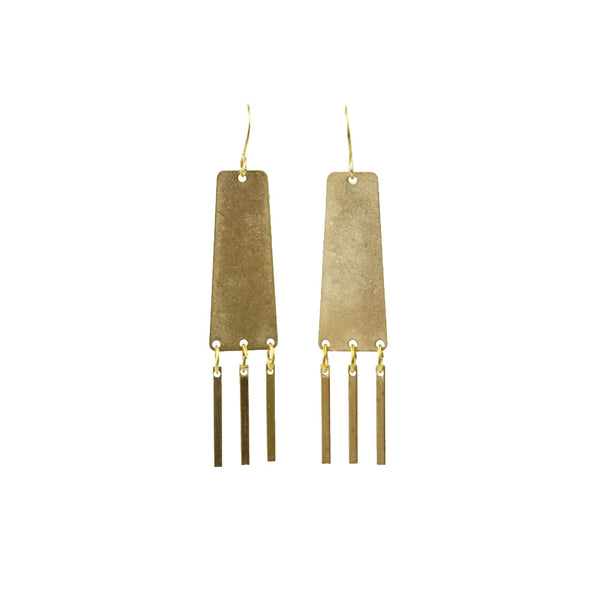 Brass Sand Dangly Statement Earrings made in Seattle