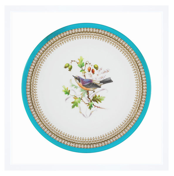 Hand Painted Bird and Fruit Plate