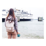 Ferry boat tote that converts to a backpack black fox on gray