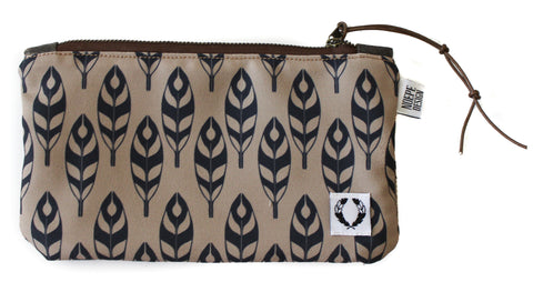 zipper pouch navy and brown feathers