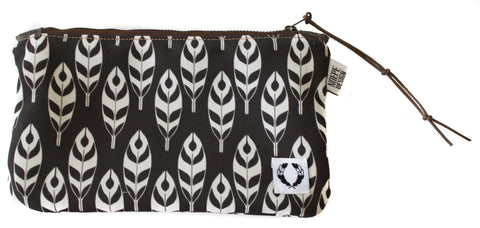Zipper Pouch with black and white feathers