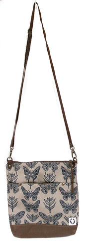 Moth Butterfly Print (navy/brown) East Chop Bag