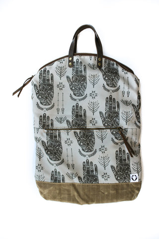 Ferry boat tote that converts to a backpack Black hands on gray