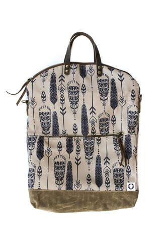 Ferry boat tote that converts to a backpack  navy feathers on coffee