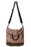 Ferry boat tote that converts to a backpack  brown fern on antique rose