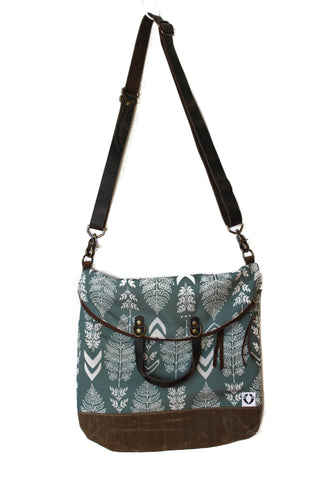 Ferry boat tote that converts to a backpack white fern on blue