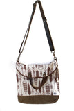 Ferry boat tote that converts to a backpack  brown feathers on off white