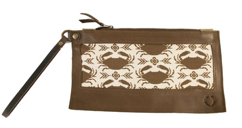 Gold crab Wristlet with brown leather