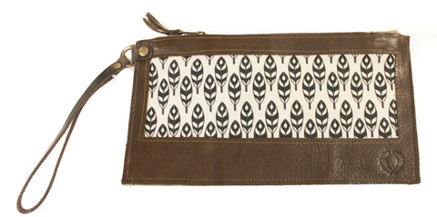 black and white feathers Wristlet with brown leather