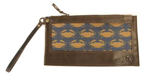 Crab on navy blue Wristlet with brown leather