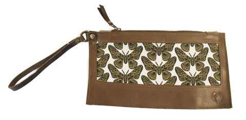 Moth Wristlet with brown leather