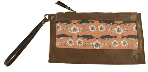 Narwhal Wristlet with brown leather