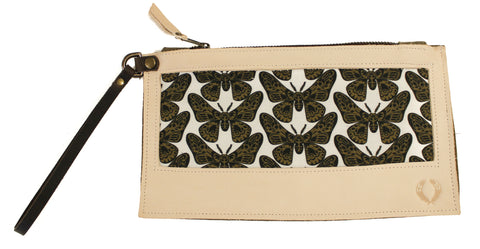 Moth Wristlet with warm white leather