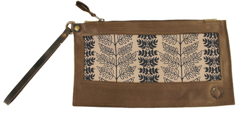 Navy blue fern on coffee Wristlet with brown leather