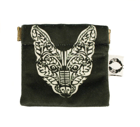 black and white velvet fox pinch purse