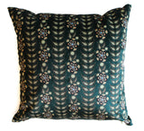 velvet blue flower rows pillow sham