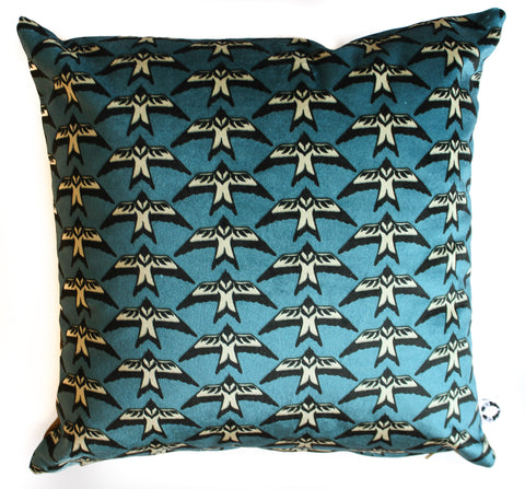 velvet blue bird pillow sham