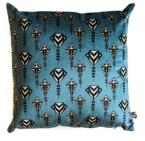 blue skies velvet kites set of 2 pillow shams
