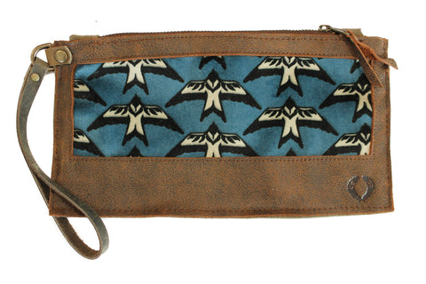 velvet blue birds leather wallet