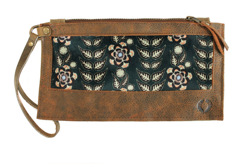 velvet blue flower rows leather wallet