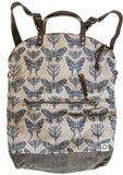 Ferry boat tote that converts to a backpack Navy moths on taupe