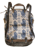 Ferry boat tote that converts to a backpack Navy hands on taupe
