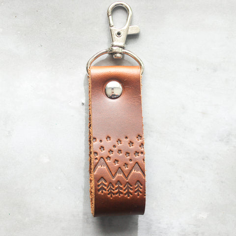 Stars and Mountain embossed brown leather key fab