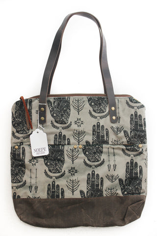 Velvet black and gray hands Islander Tote
