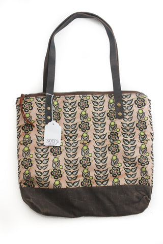 Velvet rose pink flower stripes Islander Tote
