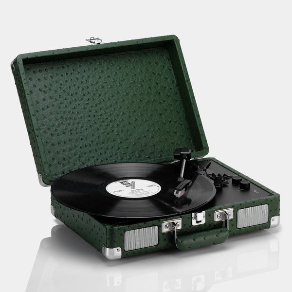 Crosley Cruiser Deluxe Dark Green Ostrich Portable Turntable with Bluetooth