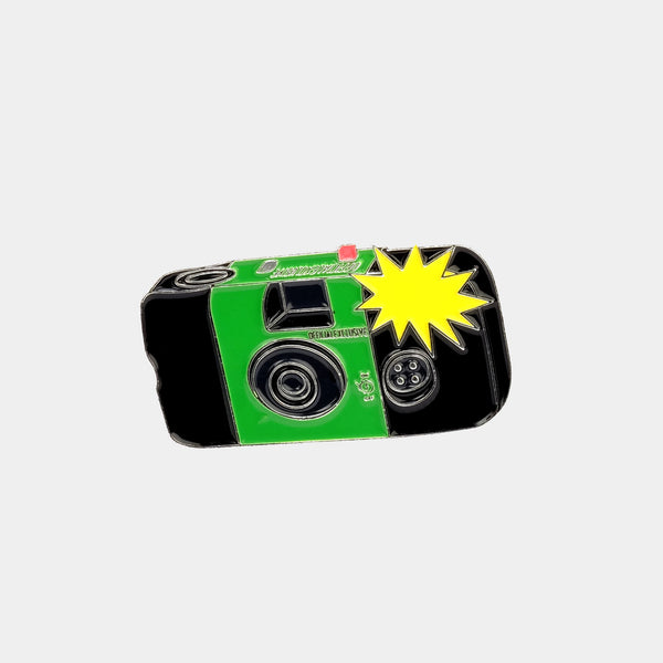 Flashing Fuji Film Disposable Camera Enamel Pin