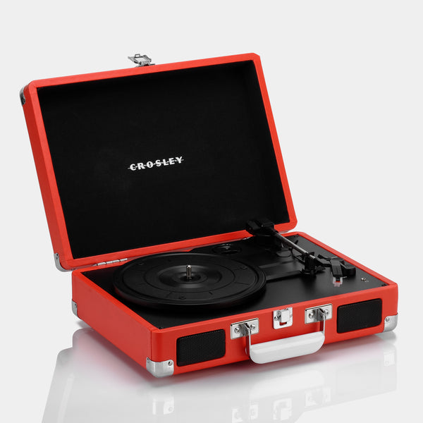 Crosley Cruiser Deluxe Red Portable Turntable with Bluetooth