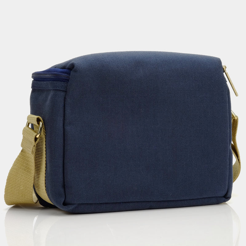 Blue Canvas Camera Bag with Cream Stripes