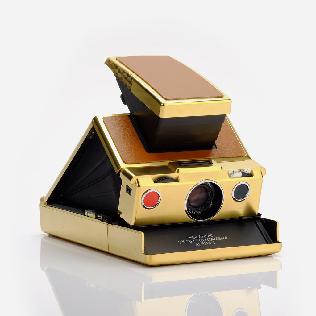 Polaroid SX-70 SLR Folding Camera - Gold Plated Tan Leather Limited Edition
