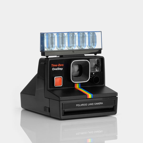 Polaroid SX-70 Rainbow Black Instant Film Camera with Flashbar