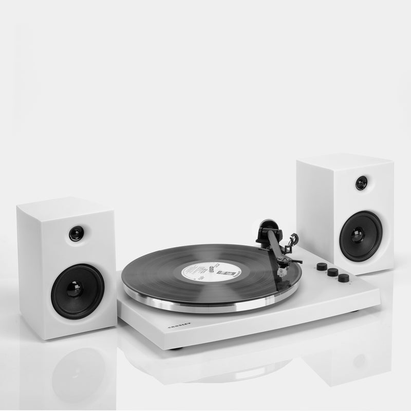 Crosley T150 White Turntable and Speakers