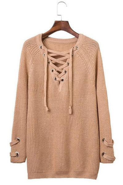 long sleeved lace collar sweater V