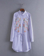 Simple striped loose flowers printed embroidery dress