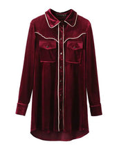 Vintage style loose velvet double pocket shirt