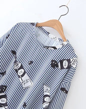 Cool printed striped loose casual  shirt